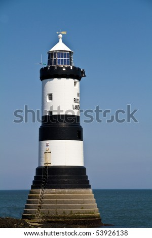 Penmon Lighthouse, Isle of Anglesey, UK - stock photo