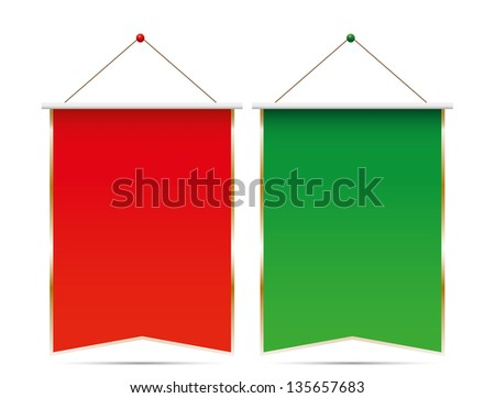 Pennants on white background.