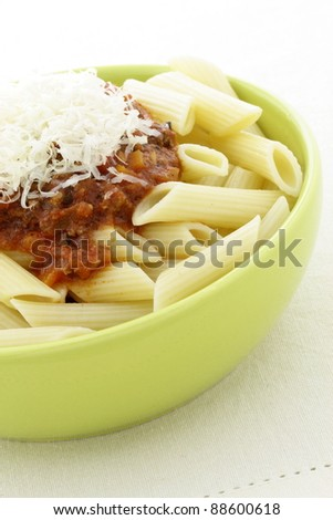Penne  bolognese delicious classic pasta recipe, with fresh chunky and delicious pasta sauce with beef, pork, lots of vegetables and tons of flavor.