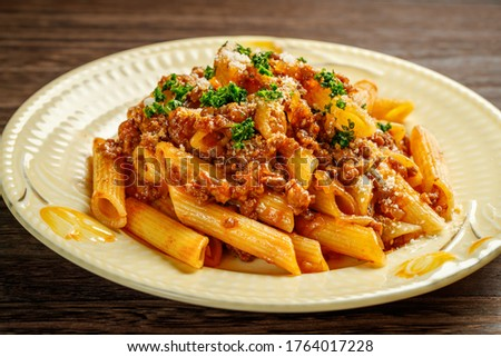 Penne bolognese, meat sauce with penne ストックフォト ©