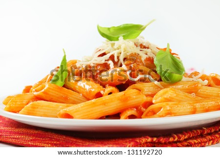 Penne bolognese on a plate