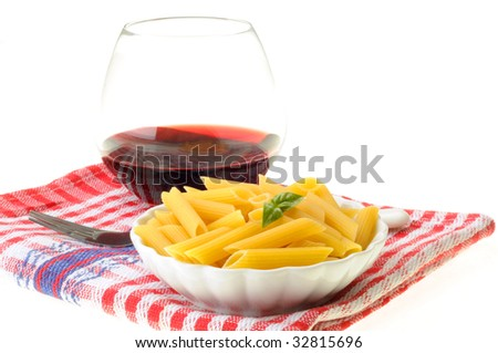 Penne pasta with a butter and basil sauce.