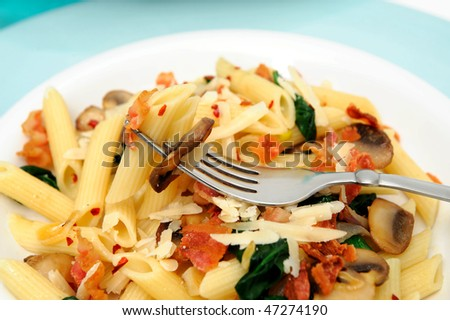 pasta with sauteed mushrooms garlic and Spinach with crumbled bacon ...