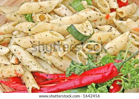 Penne with courgettes (zucchini)