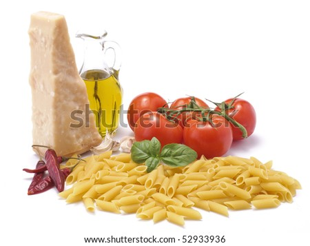 Penne with ingredients of spicy tomato sauce
