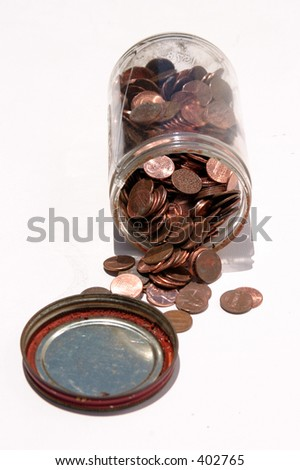pennies in a glass jar