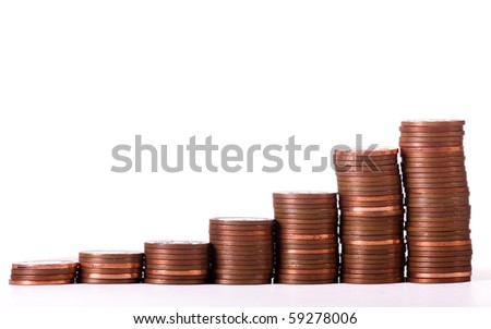Pennies in increasing heights of pile representing growth.