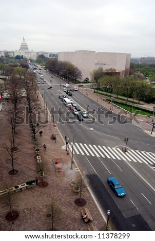 Pennsylvania Avenue from the balcony of Newseum to the Capitol in Washington DC