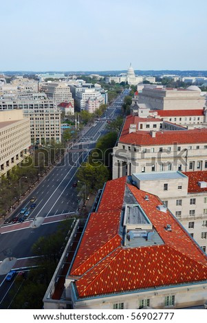 Pennsylvania avenue, Washington DC, aerial view with capitol hill building and street