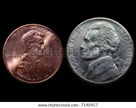 Penny and a Nickel over Black