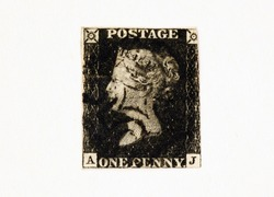 Penny Black - The first adhesive postage stamp in the world issued by the UK on 1 May 1840.