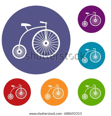 Penny-farthing icons set in flat circle reb, blue and green color for web