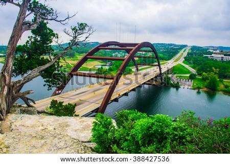stock photo pennybacker bridge or bridge austin texas hill country suspension bridge landmark view of the 388427536 - Каталог — Фотообои «Мосты»
