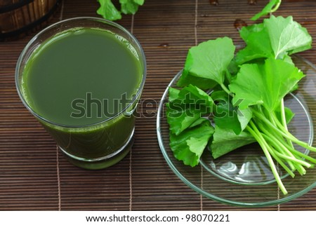 Pennywort juice and fresh leaves.