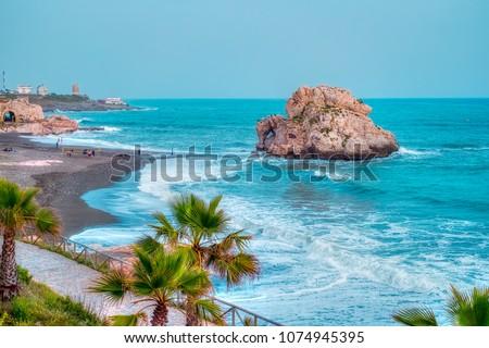 Penon del Cuervo beach. Costa del sol, Malaga, Spain Foto stock ©