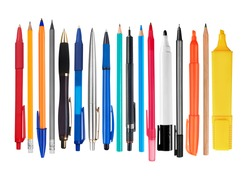 Pens and pencils on white background