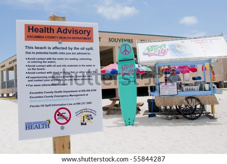 PENSACOLA BEACH - 23 JUNE: A warning sign at the entrance to the beach area warns swimmers on June 23, 2010 in Pensacola Beach, FL.