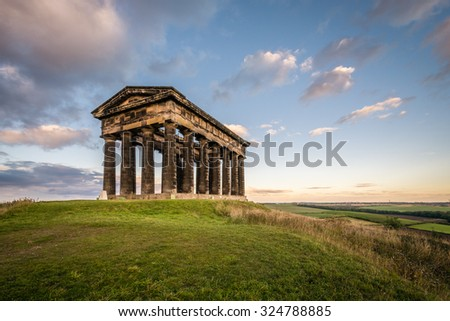 Penshaw Monument dominates Wearside Skyline / Penshaw Monument a copy of the Greek Temple of Hephaestus in Athens. Erected in 1844 the folly stands 20 metres high and dominates the skyline of Wearside