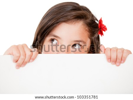 Pensibe girl holding a banner - isolated over a white background