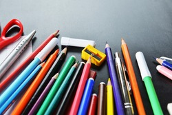 pensil, pen and other  school supplies