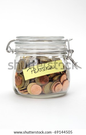 Pension, Euro coins in a glass jar on white background