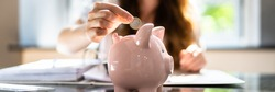 Pension Money Deposit. Holding Penny. Income Piggy Bank