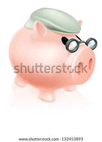 Pension pig money box concept of a a savings piggy bank money box dressed in senior's hat and specs.