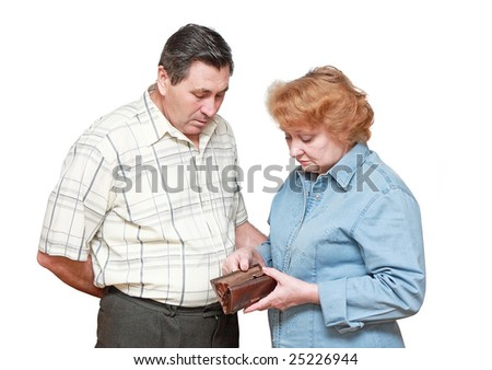 Pensioners with regret look on theirs empty wallet. Isolated.