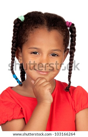 Pensive african little girl isolated on a over white