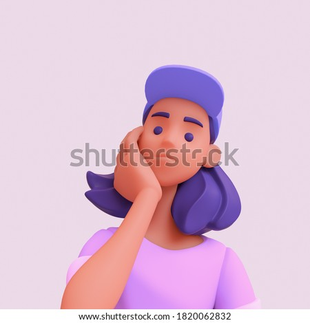 Pensive black girl props her face with her hand thinks and makes decision. Casual young stylized girl with purple hair in pink t-shirt and blue cap. Woman avatar in minimal art style. 3d illustration.