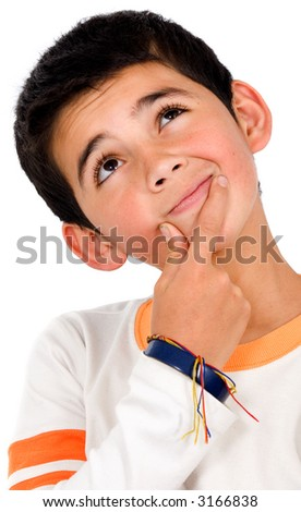 pensive boy portrait over a white background