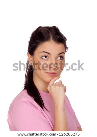Pensive brunette girl isolated on white background