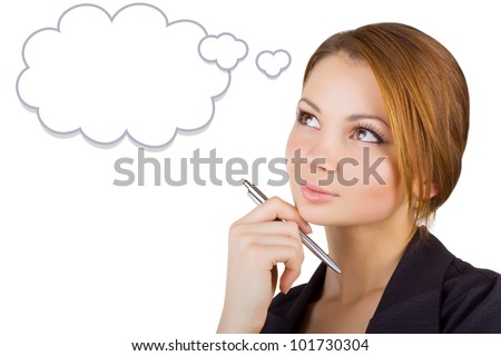 Pensive business woman looking up, isolated on white background. Speech bubble at the top of the photo for your text