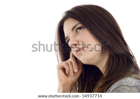 Pensive business woman with copyspace, isolated over white background