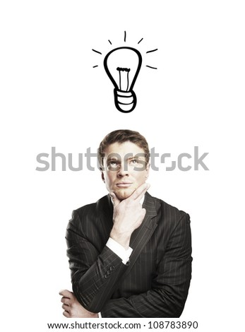 pensive businessman with a drawing lamps over his head