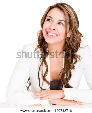 Pensive businesswoman looking very happy - isolated over a white background