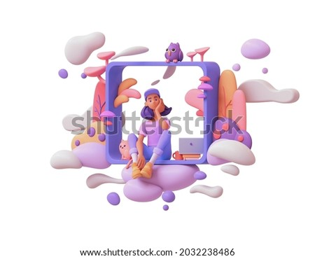 Pensive casual girl in purple t-shirt, blue jeans, orange sneakers, socks, cap sitting on windowsill floating in clouds with laptop, cat, an owl, colorful plants. 3d render isolated on white backdrop.