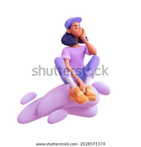 Pensive casual girl student in purple t-shirt, blue jeans, orange sneakers, white socks, cap sits on cloud thinks over decision and tries to make the right choice. 3d render isolated on white backdrop