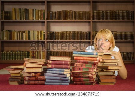 Pensive girl at library