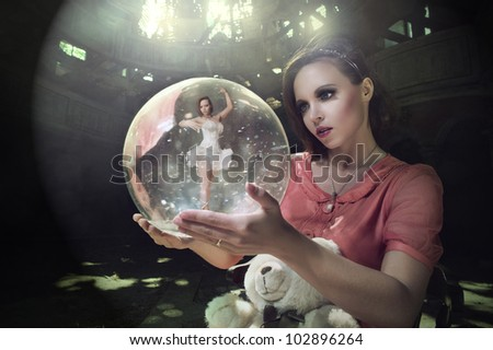 pensive girl dreams of ballet. Ballerina in the ball with smoke #102896264