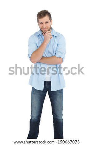 Pensive handsome man on white background