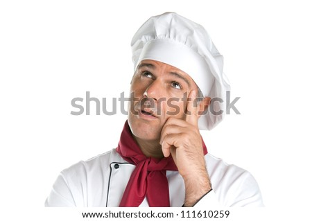 Pensive mature chef looking up with thoughtful expression isolated on white background