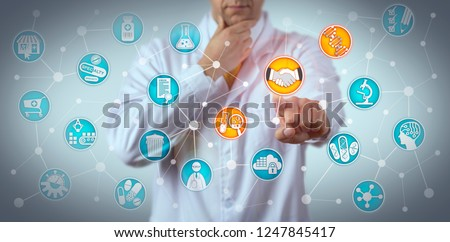 Pensive researcher reaching a deal between a pharmaceutical company and a pharmacogenomic technology partner. Healthcare and pharma concept for pharmacogenomics partnering, collaborative R & D.