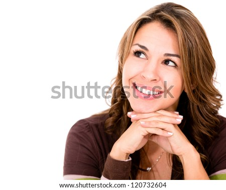 Pensive woman looking up - isolated over a white background