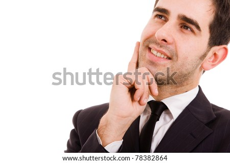 pensive young business man portrait in white background