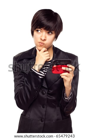 Pensive Young Mixed Race Woman Holding Her Mobile Phone Isolated on White.