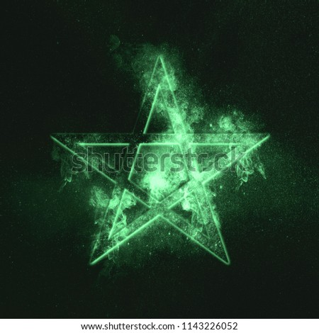 Pentagram symbol. Green symbol #1143226052