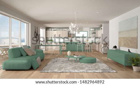 Penthouse living room and kitchen interior design, lounge with sofa and carpet, dining table, island, stools, parquet. Modern minimalist white and turquoise architecture concept idea, 3d illustration