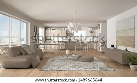 Penthouse living room and kitchen interior design, lounge with sofa and carpet, dining table, island with stools, parquet. Modern minimalist white and beige architecture concept idea, 3d illustration