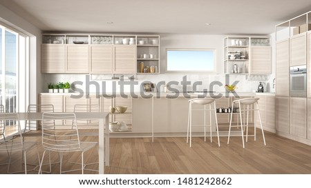 Penthouse minimalist kitchen interior design, lounge with sofa and carpet, dining table, island with stools, parquet. Modern contemporary white architecture concept idea, 3d illustration